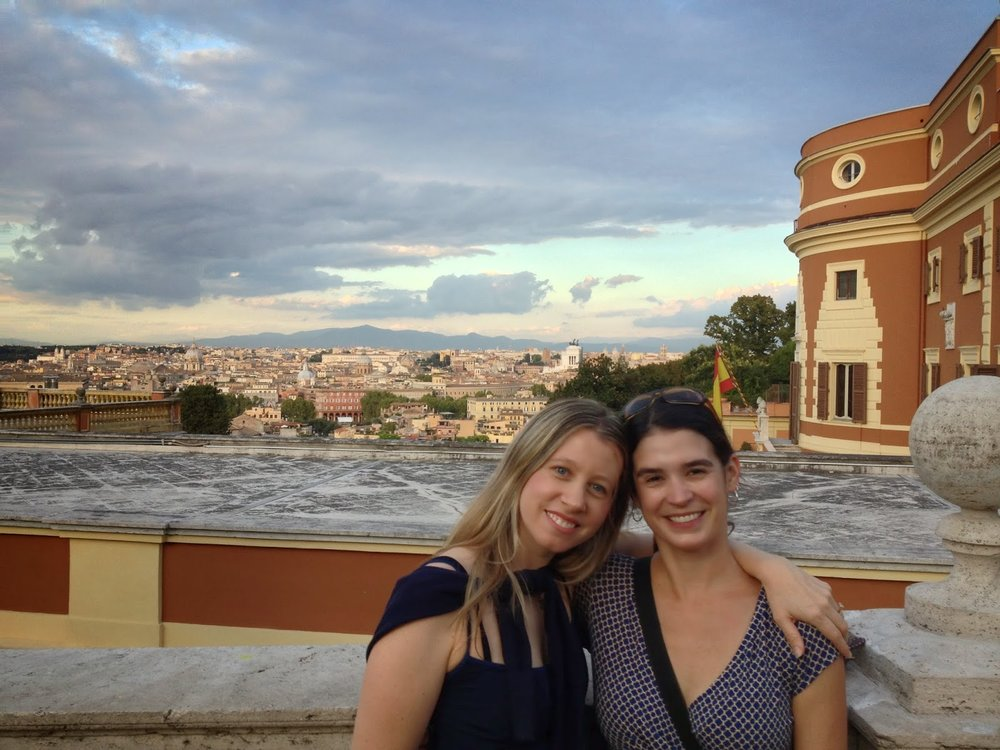 With Katy on her first full-day as a Rome expat, Gianicolo Hill, September 2013
