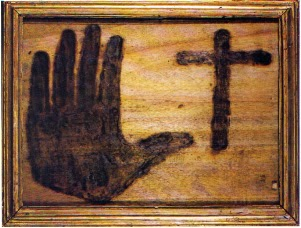 Handprint burned onto wood, Museo delle Anime in Purgatorio [ source ]