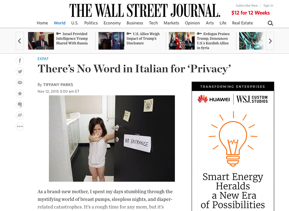 No Privacy in Italian, WSJ expat blog, Nov 2015.png