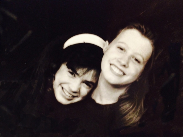 With Katy, on the stage of Youth Theatre Northwest, Mercer Island, WA, about 13 years old