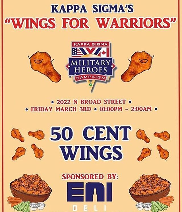 Come support the Military Heroes Campaign Friday night 10pm - 2am at @kappasigmatempleu! #wingsforwarriors #templefood #bestwings