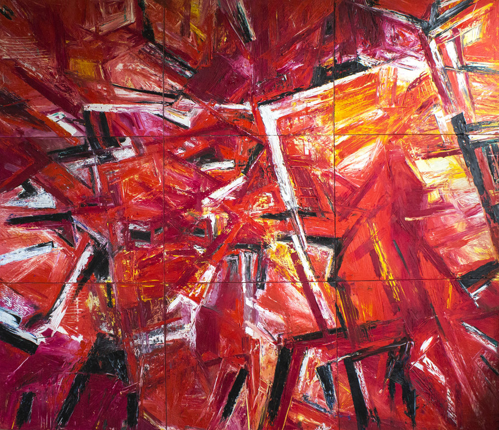 Oil on Canvas, nine parts, 420 x 360 cm by Heidi Bayer-Wech 1999/ 2000