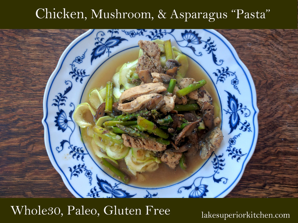 chicken, mushroom, asparagus, zucchini noodles, whole30, paleo, gluten free, grain free