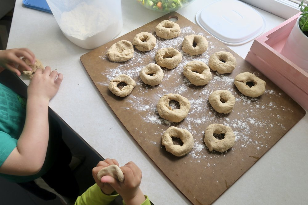 cooking with kids, bagels, Lake Superior kitchen, Duluth food