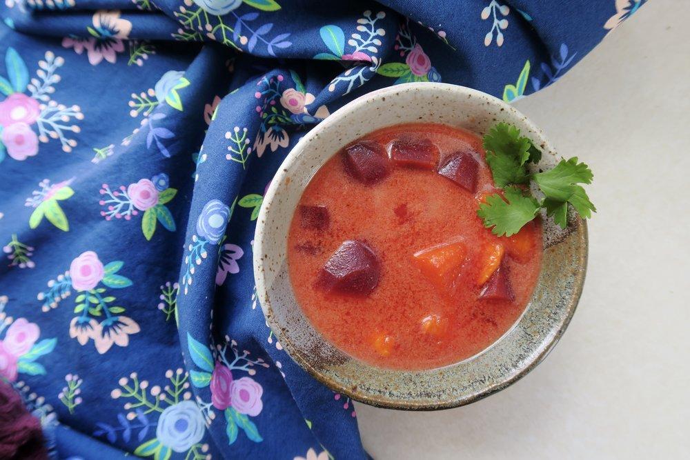 Lake Superior kitchen, Duluth food, detox, beet soup, sweet potatoes