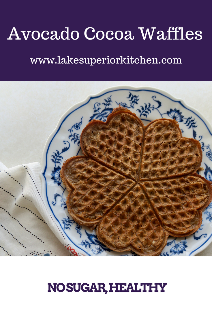 Avocado Cocoa Waffles, Lake Superior Kitchen, healthy breakfast