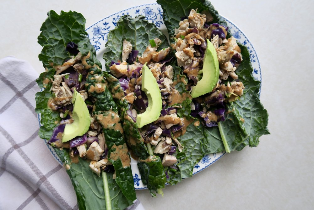 Chicken Kale Boats with Almond Drizzle, Lake Superior Kitchen, Whole30, Paleo, Grain Free, Ketogenic