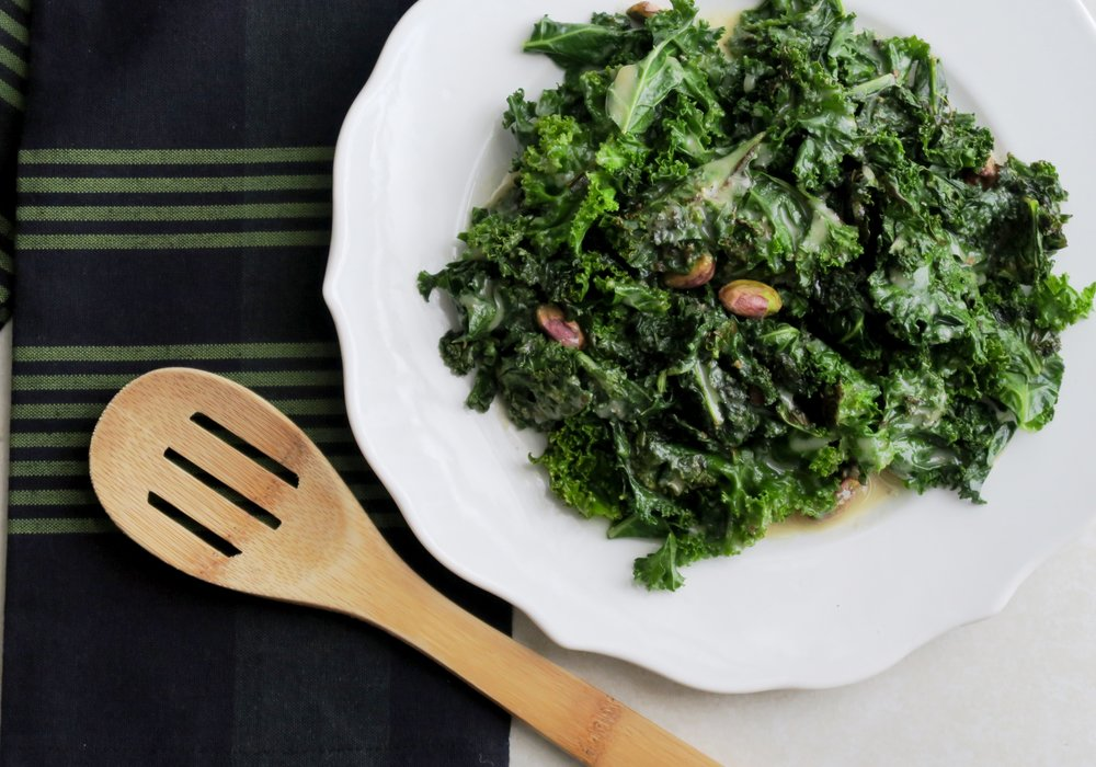 Sauteed Kale with Sesame Tahini Glaze, Lake Superior Kitchen, Duluth, Paleo, Whole30
