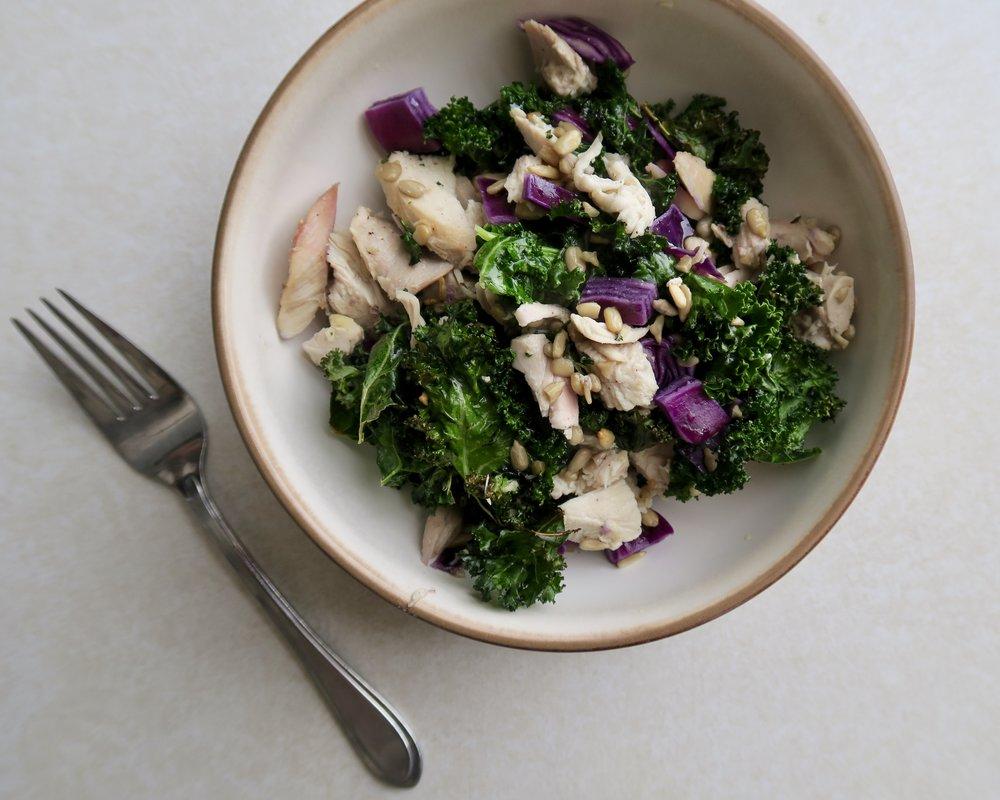 Roasted Kale & Chicken Salad, Lake Superior Kitchen, Whole30, Paleo, Grain Free, Keto