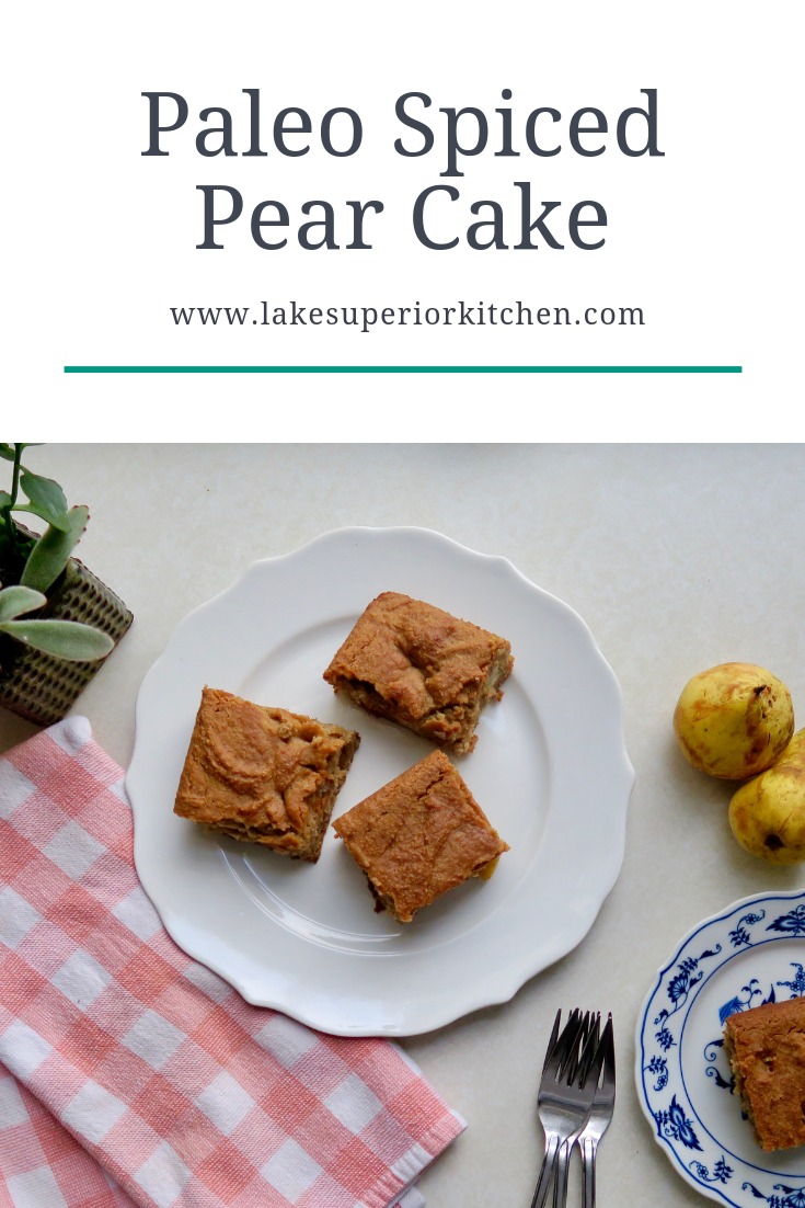 Paleo Spiced Pear Cake, Lake Superior Kitchen, Paleo Dessert, Grain free