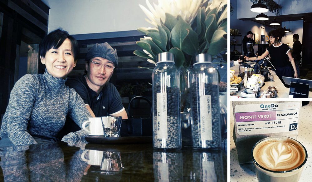LEFT:  Owners Gloria Hwang and James Park.  TOP RIGHT:  OneDo staff serve up drinks in a rustic modern space.  BOTTOM RIGHT:  The goods.