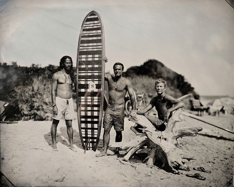 """Andy's Board , Joni Sternbach,part of the """"Surfland"""" series that became the photobook """"Surf Site Tin Type""""  Available at: https://www.theprintspace.co.uk/interview-joni-sternbach-surfland/"""