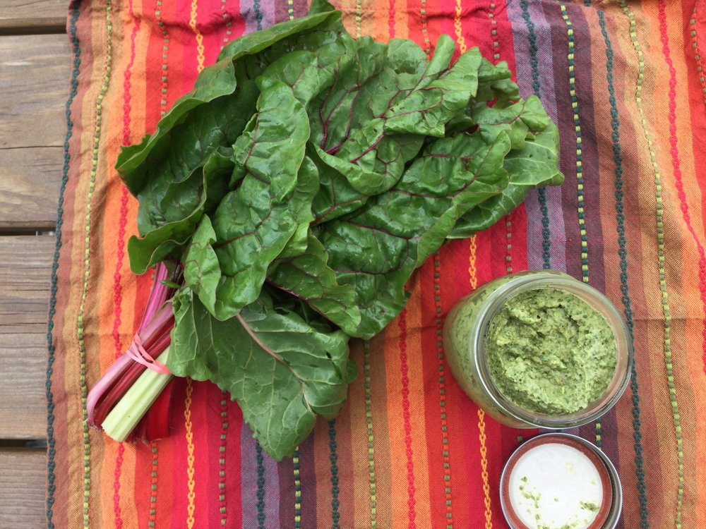 How To Make:  - Swiss Chard PestoPictured: White beans blended in for a creamy dip version