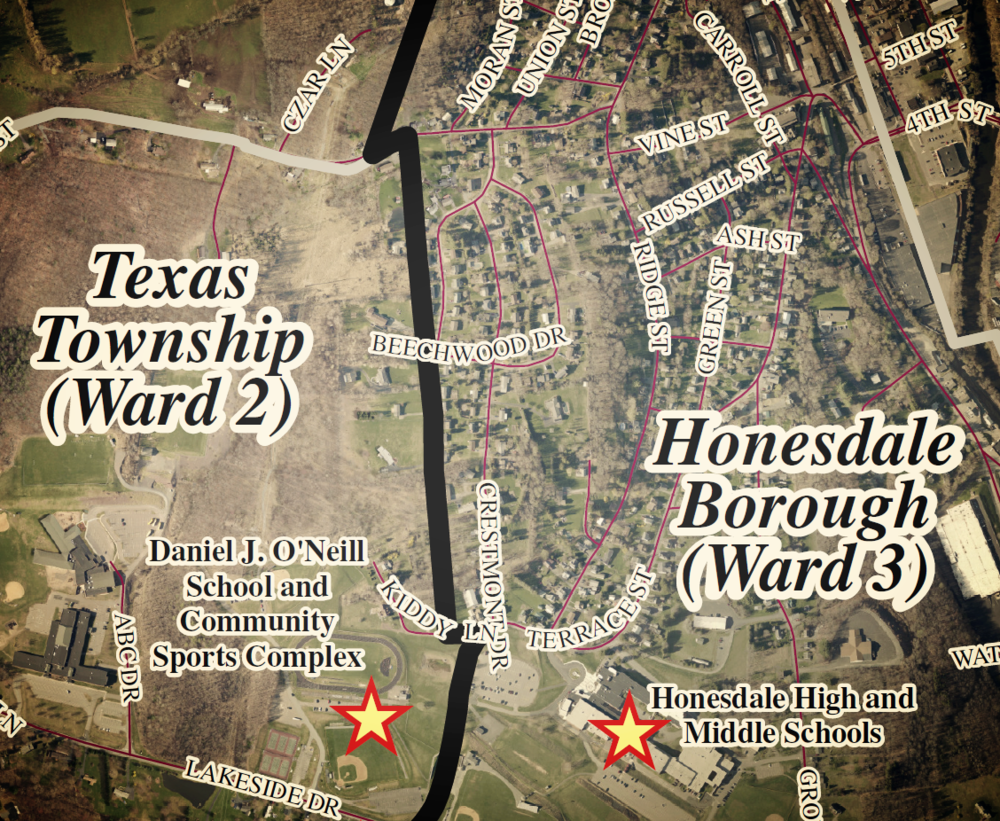 Portion of the Honesdale Boundary Analysis map.