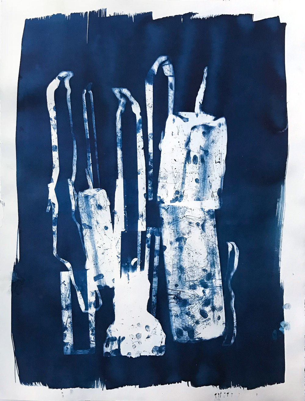 Cyanotype on paper with homemade negatives.