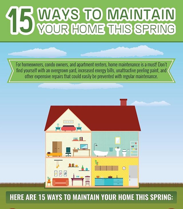 Here are 15 ways to maintain your home this spring! Can't do them all? Give us a call and we can handle it for you! ☎️ 844-436-0669
