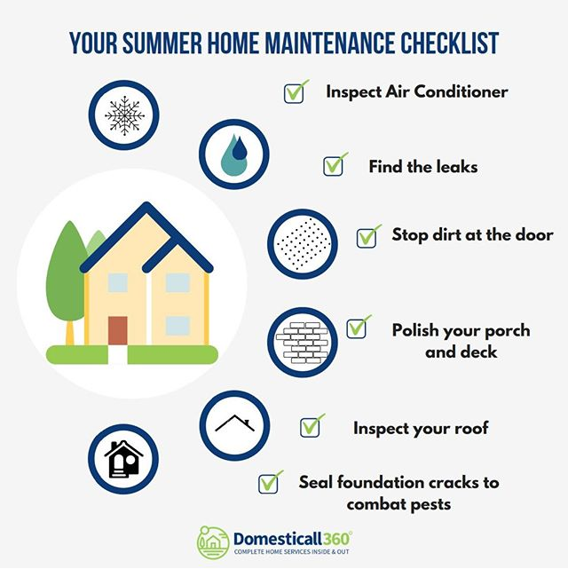 A quick summer home prep checklist! Need help getting your home ready for the season? Give us a call at 844-436-0669.