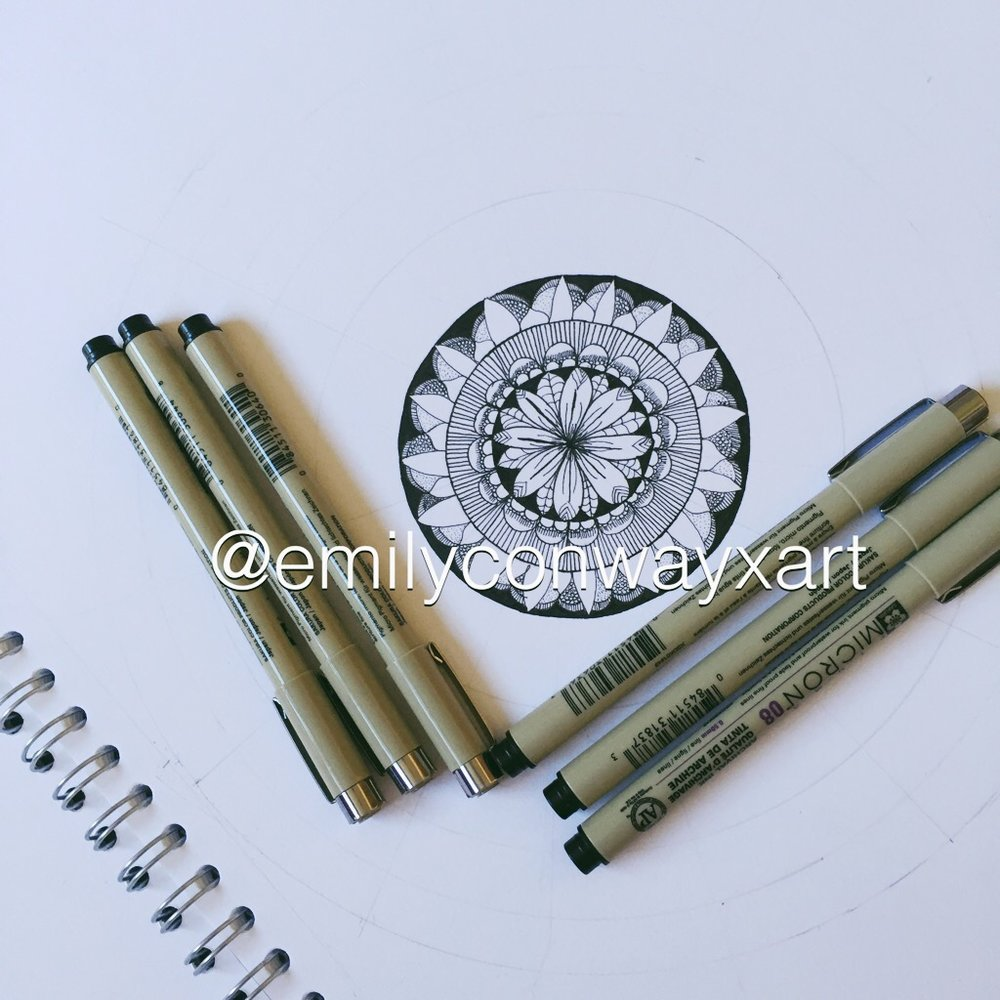 Step 1 - I started by using a compass and a pencil to draw some circles and then with a ruler draw some lines to divide the circle up into 8 symmetrical pieces. I then started filling in the mandala using different patterns. If I struggled to find different pattern ideas I would google search 'zentangle patterns' and choose which one I wanted to use next.