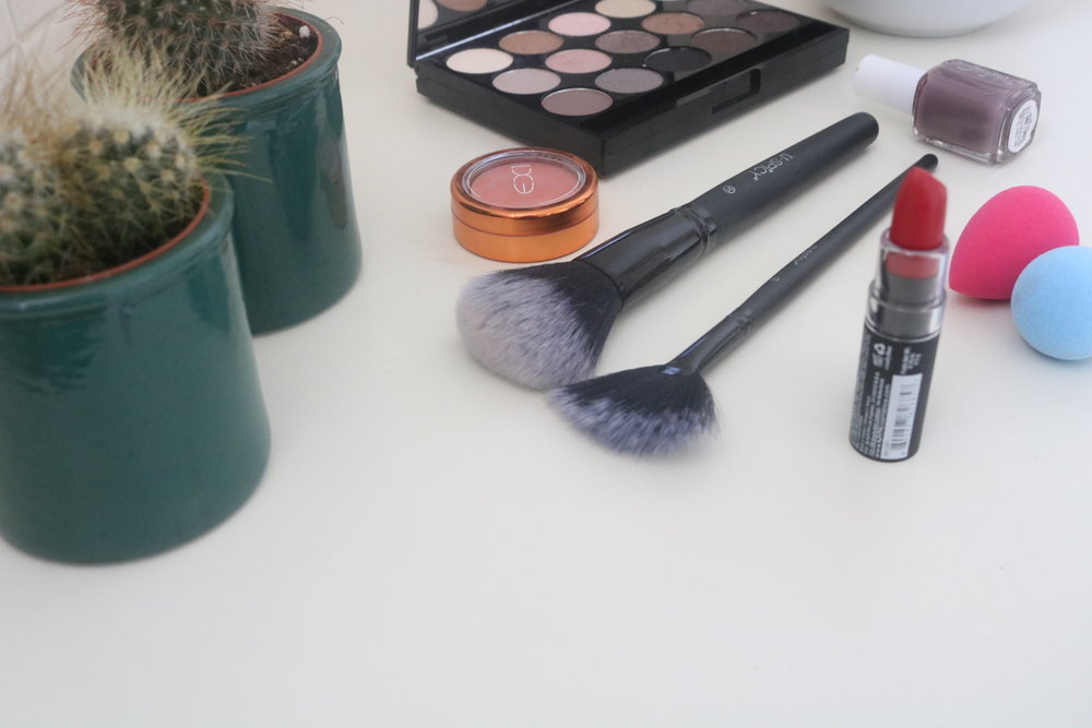 makeup flatlay
