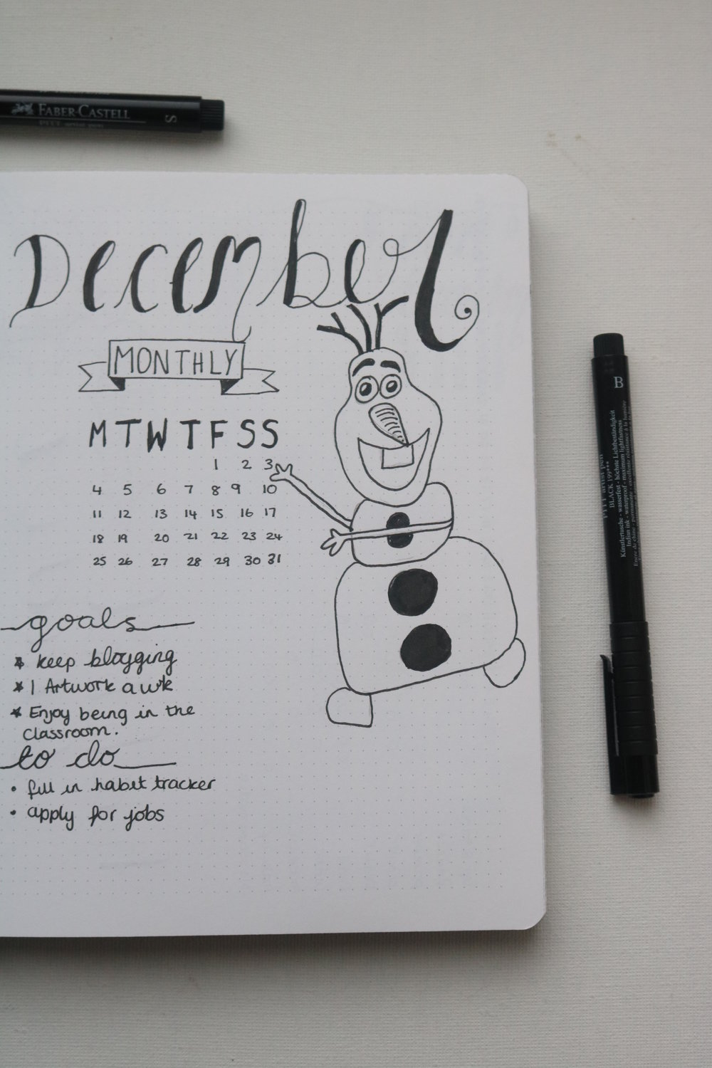 Oh Hey Olaf! - I had to go with Olaf for this month, and look how happy he looks to be here. I always do a monthly goals and to do list. The goals I have for this month are to keep my blogging schedule as much as I can, so far so good. Do at least one piece of artwork this month. As I haven't done a proper art piece for god knows how long and I really want to get back into it. I am also doing a self care thing this month to make sure I do one thing I love each week. It's so easy to feel down during this part of the year, so to make sure that I don't I want to makes sure that I do something that I love regularly to keep me motivated during these cold, dark months. My monthly to do's are ones that need to happen throughout the whole month and this months main to do is to keep on track with my habit tracker, I am awful with filling this out.