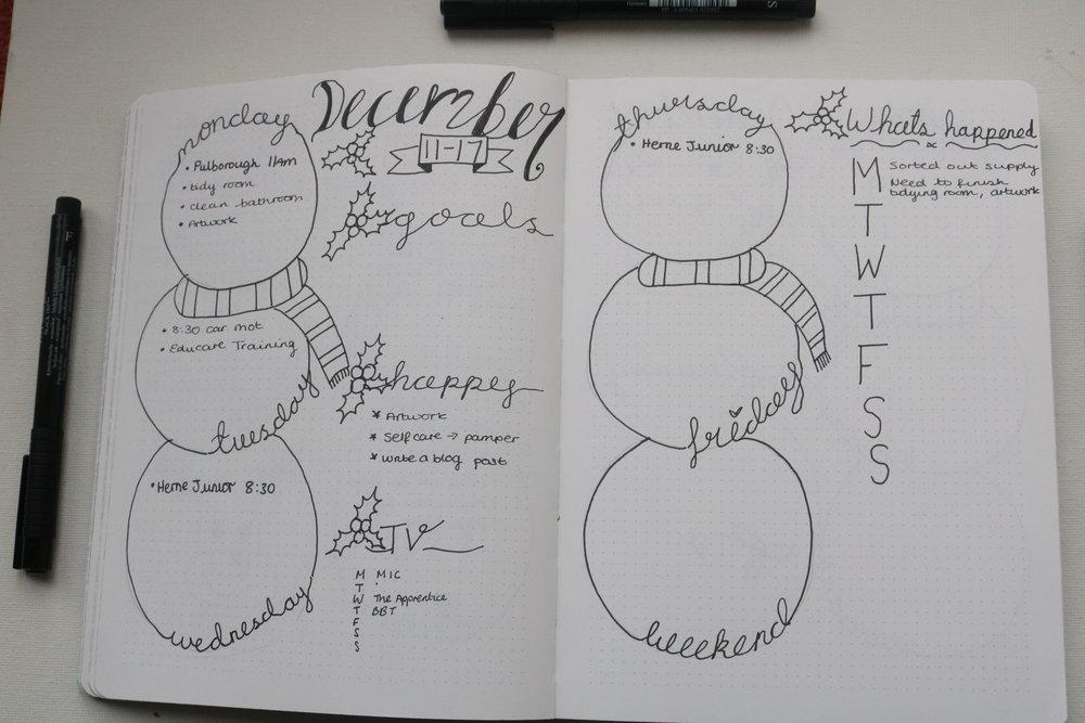 weekly december plan