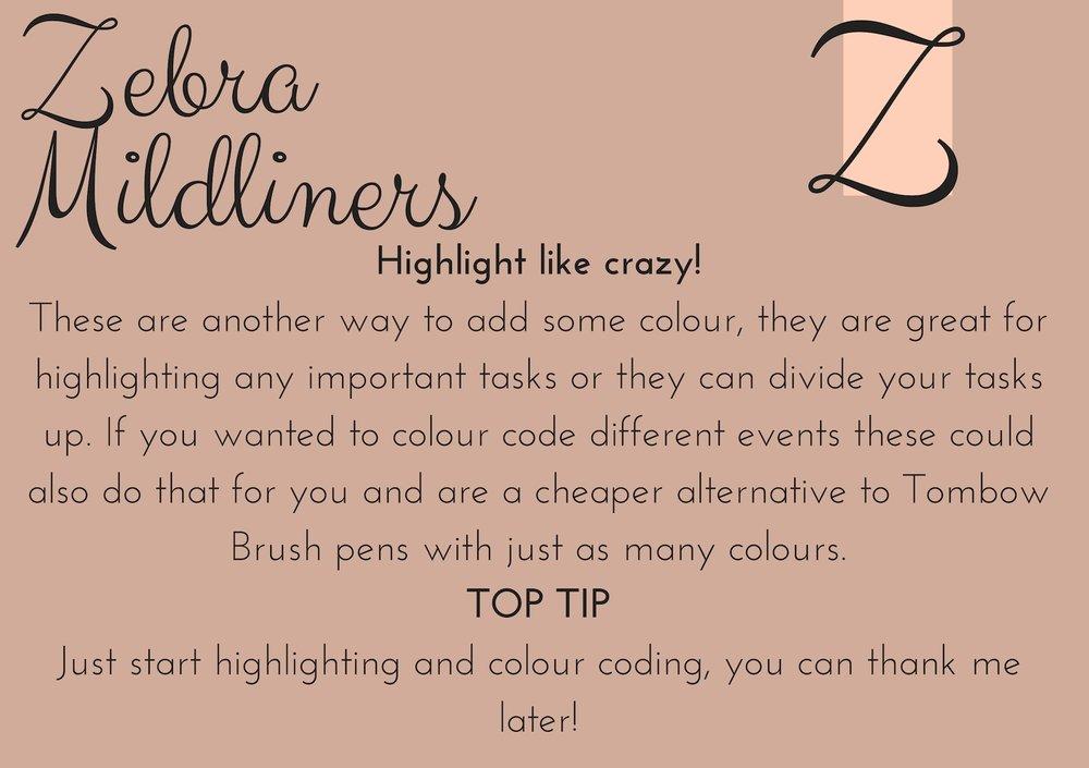 zebra mildliners