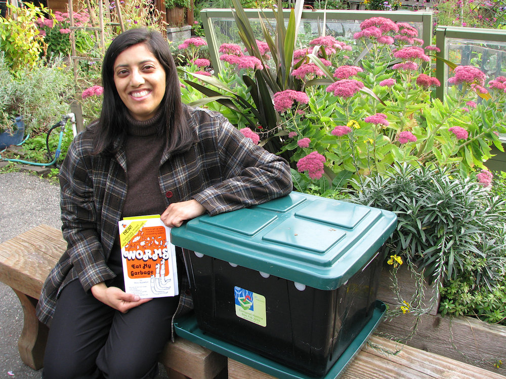 Wormshop instructor, Farhat Khan, beside City worm bin.