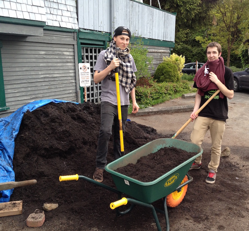 Volunteers Moving Compost