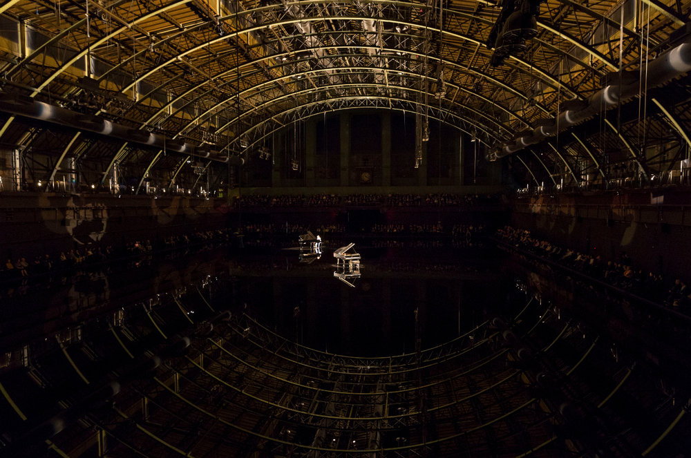 """Douglas Gordon's set from """"tears become... streams become..."""" at the Park Avenue Armory."""