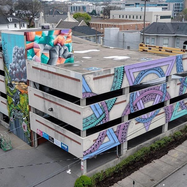 Gorgeous new murals! Repost @nashvillewallsproject . . . Thank you @thosedrones for this incredible shot of the Elliston garage murals 😍 @zidekahedron @nathanbrown77 @audroc_tm wow!!! Big thanks to The Matthews Company and @dwesthoff for making all of this possible! . . . . #art #artfair #international #applicationsopen #artgalleries #galleries #opencall #nashville #tennessee #contemporary #tradeshow #production #curator #nyc #lifestyle #decor #highart #painting #sculpture #installation #performance #artcollector #collections #collectors #luxury #design #artnashville #streetart