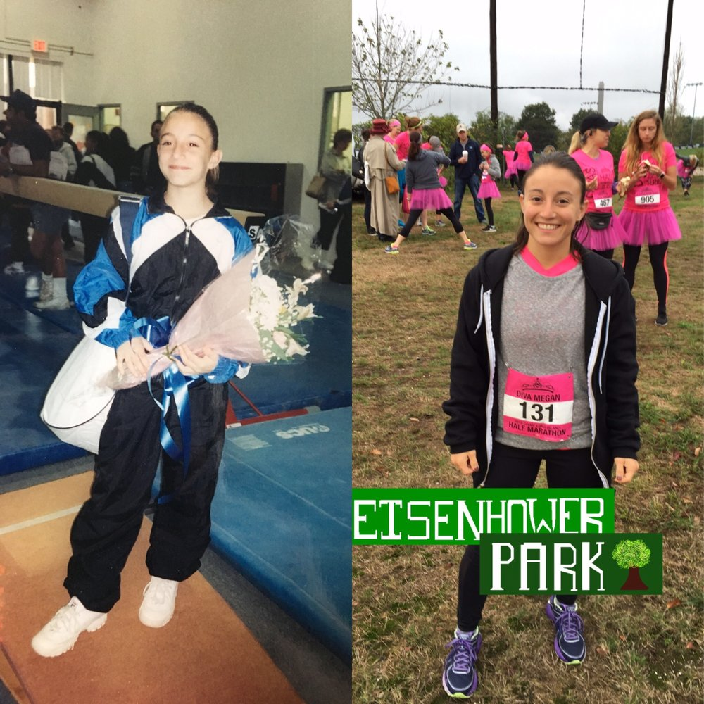 On the left, me in my gymnastics warm-up suit after a competition in 2003. On the right, 13 years later, ran my first ever half marathon with the Diva's in 2016.