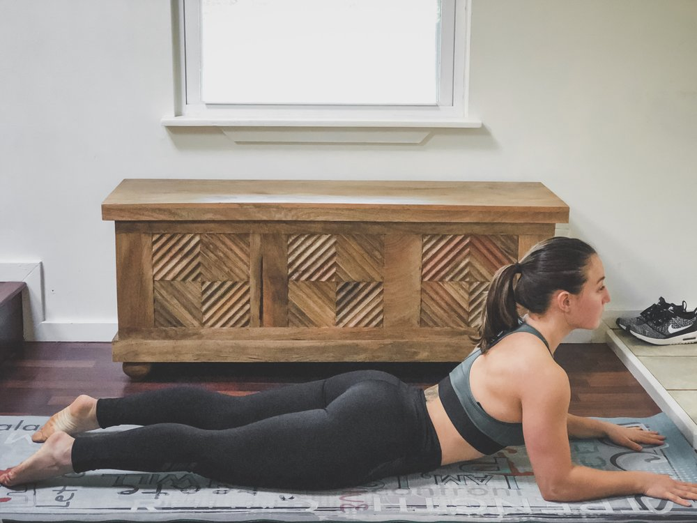4. Modified Cobra - AKA Sphinx pose. This stretch is a chest opener and helps to improve posture. It's also a good stretch for better blood circulation from the lungs and heart (considering they're in the chest).Chest StretchNote: don't do this pose if it causes even more back pain.