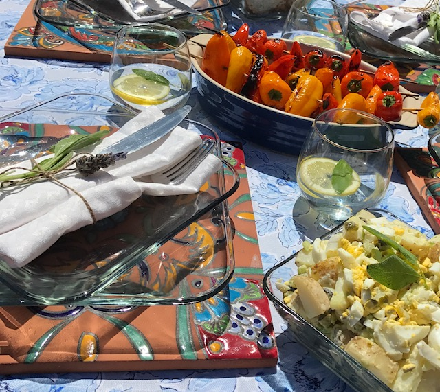 Serve with some grilled red & yellow peppers and a beautiful table setting! -