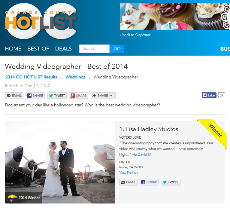 Orange County Hot List Best Wedding Videographer