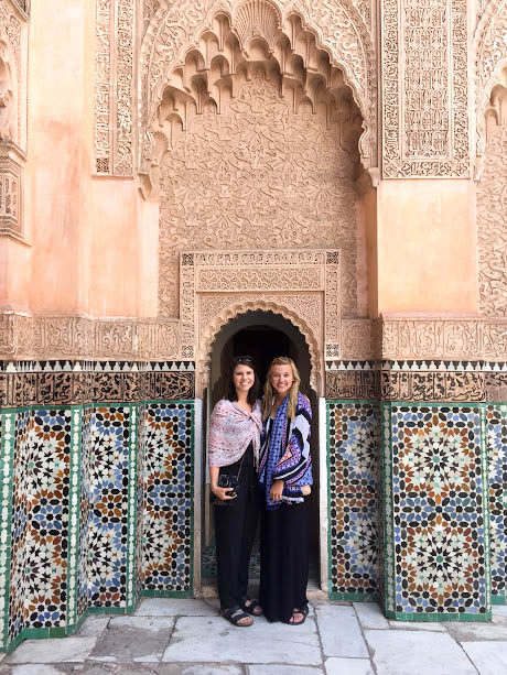 Enjoying the amazing tile of the Ben Youssef Madrasa.
