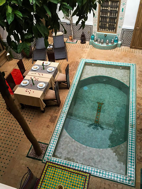 A view of the courtyard of our riad.