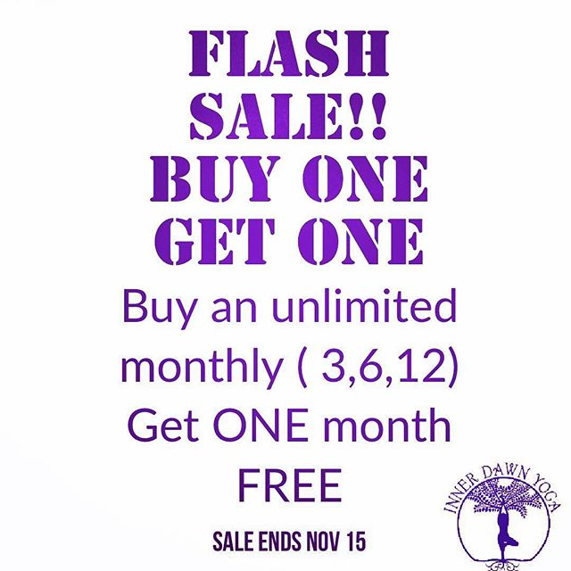 It's SAVINGS time!! Get ONE MONTH FREE with the purchase of a 3, 6 or 12 Month Unlimited Membership!!! . . Start your Xmas shopping early or INVEST in yourSELF for the holidays. 💜✌️ . . Sale ends next Thursday! . . #idytribe #sarniayoga
