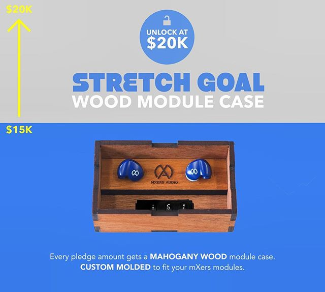 THANK YOU ALL SO MUCH!  We've finally reached our goal of 15,000 on our @Kickstarter! . With less than a week left, we are excited to be launching the wood module case as a stretch goal for our campaign! . Help us reach 20k on our campaign and get this gorgeous wood box created by our friends @woodchuckusa ! . If you haven't backed us yet grab your earbuds (Link in bio)
