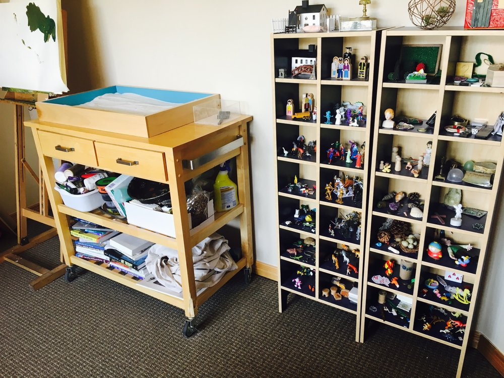 Art therapy office in Denver, CO with Sandplay therapy tools