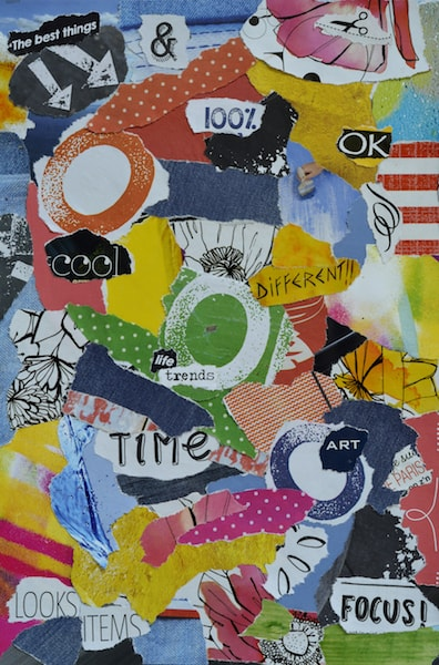 Colorful vertical oriented collage with words such as focus, art, cool and time.