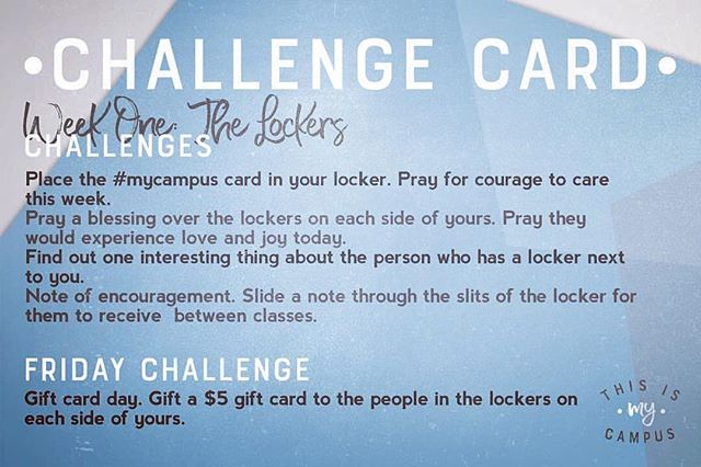 Our week one challenge card reminder...can you do this?! Let's make an impact! #412studentministry #thisismycampus