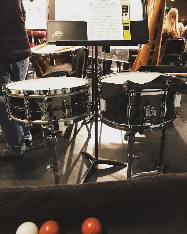 Giving my two snare drums a test drive this weekend on Verdi, Liszt and Rimsky-Korsakov with North State Symphony.