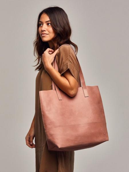Mamuye Leather Tote- Dusty Rose - FashionABLE | $178