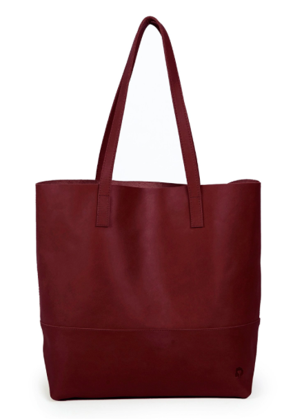 Leather Tote- Burgundy - FashionABLE | $178