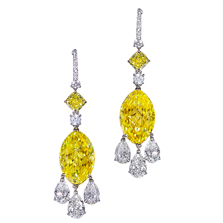 E9165 -Natural Fancy Vivid Yellow Diamond earrings, set in platinum.  With 13.67cts of yellow diamonds and 3.24cts of white diamonds..jpg