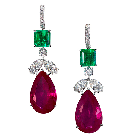 E9472 - Colombian emerald (6.88cts), Burma ruby (40.23cts) and diamond (5.25cts) earrings set in platinum.jpg