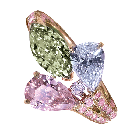 R14716 - Rose gold ring with Natural Fancy Yellow-Green diamond (1.21cts), Fancy Blue (1.01cts) and Fancy Intense pink diamonds (0.92cts).jpg