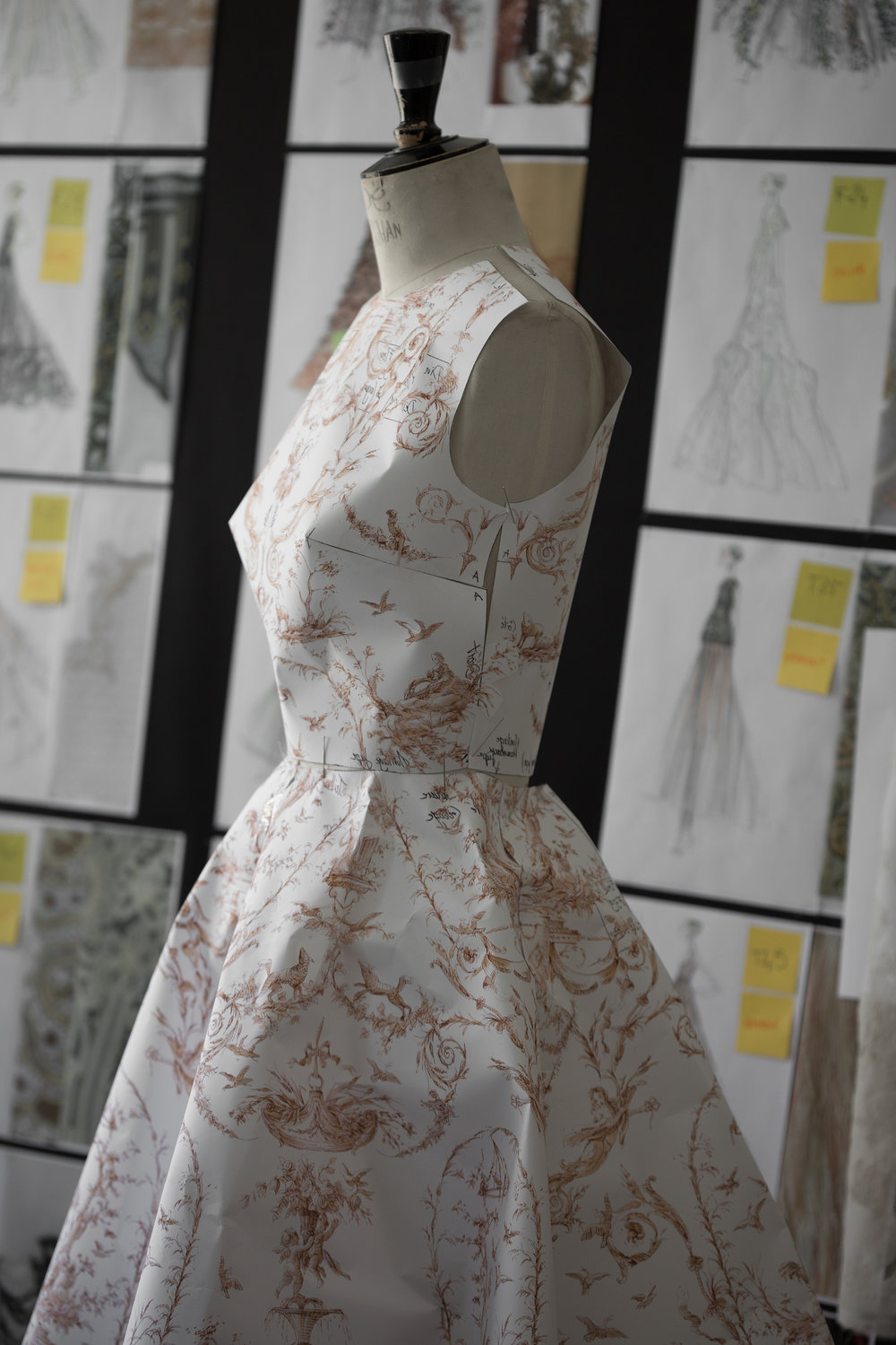 A paper toile mapping out a design for a dress in Maria Grazia Chiuri's Haute Couture AutumnWinter 2018 collection. Photo (c) Sophie Carre. Dior Héritage collection, Paris.jpg