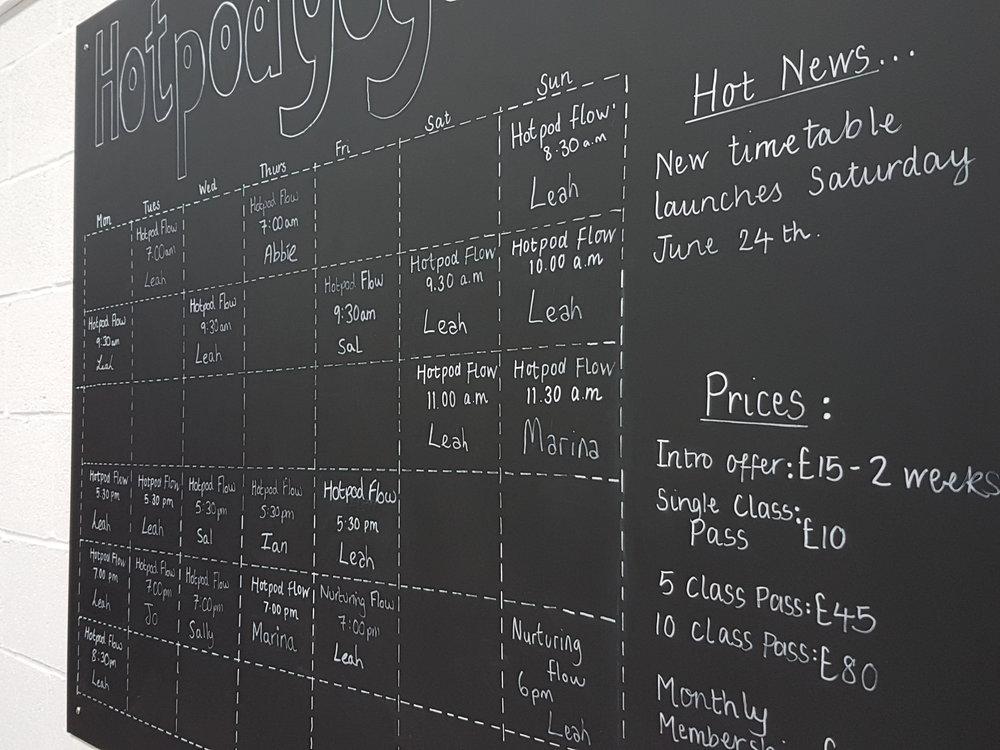 Hotpod yoga timetable