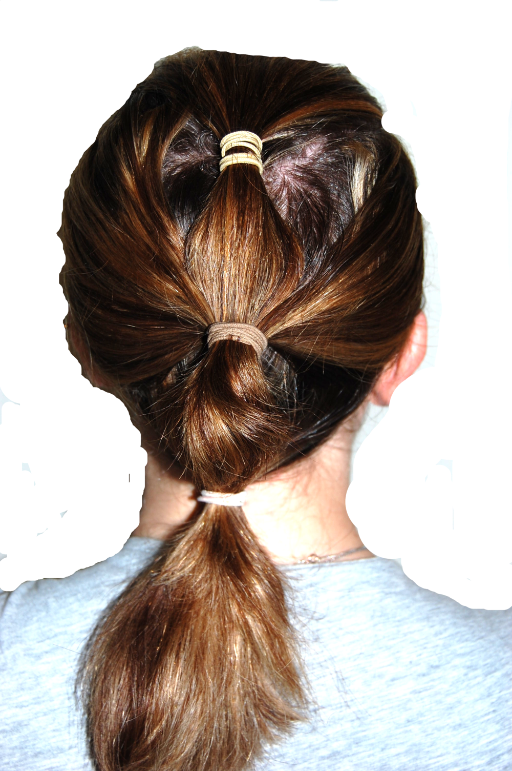 Three tiered ponytail